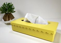 Vintage Yellow Plastic Mod Tissue Kleenex Box by ChattCatVintage