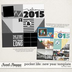 Pocket Life: New Year Template by Traci Reed Designs.  FREE! Digital Scrapbooking Digiscrap Project Life Pocket Scrapbooking