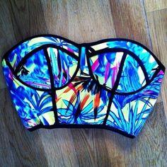 Swimwear: neon bright crop tops bikini blue floral fluo colour swim swimmers green yellow top