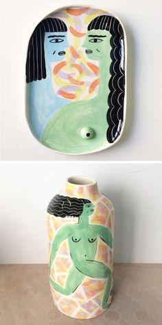 Illustrated Ceramics by Laura Bird | painted vases | creative painted ceramics | illustrated products