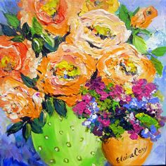 Lime Vase Still life Original Painting 12 x 12 por ElainesHeartsong