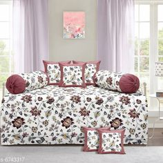 Diwan Sets Printed Pure Cotton 90 X 59 Diwan Set  Bedsheet Fabric: Cotton Bolster Cover Fabric: Cotton Cushion Cover Fabric: Cotton No. of Bedsheets: 1 No. of Bolster Covers: 2 No. of Cushion Covers: 5 Thread Count: 180 Print or Pattern Type: Solid Multipack: 1 Sizes:  Free Size (Bedsheet Length Size: 90 in Bedsheet Width Size: 59 in Bolster Cover Length Size: 32 in Bolster Cover Width Size: 15 in Cushion Cover Length Size: 15 in Cushion Cover Width Size: 15 in) Country of Origin: India Sizes Available: Free Size   Catalog Rating: ★4.3 (2239)  Catalog Name: Printed Pure Cotton 90 X 59 Diwan Set CatalogID_1075262 C117-SC1107 Code: 957-6743317-4791