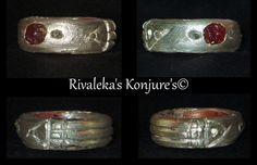 Ancient Assouan Atlantis Ring - Natural rough Diamond & Rough Red Ruby 100% Hand Crafted Fine Silver - Protection, Valley of the Kings