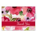 Modern Red Floral Watercolor Thank You card