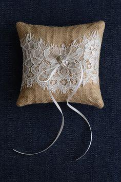 Wedding Ring Pillow Ring Bearer Pillow ring cushion by MadameTulle