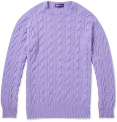 100 % cashmere crew cable knit sweater ! In purple !