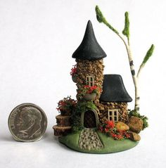 Handmade Miniature FAIRYTALE STONE FAIRY TOWER COTTAGE HOUSE - by C. Rohal #CRohal
