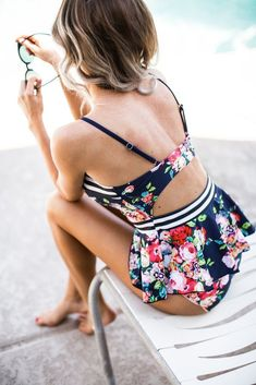 **This swimsuit is on pre-order** **Shipping date: Floral + Stripes = Dream Team! This peplum style tankini is sure to be your new favorite swimsuit. It's flattering, comfortable, high-quality, Summer Wear, Summer Outfits, Bikinis, The Bikini, Daily Bikini, Bikini Babes, Bikini Beach, Cute Swimsuits, Flattering Swimsuits