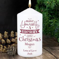 Personalise this 'Have yourself a Merry Little Christmas' Candle with a name up to 12 characters and 2 lines of message, 15 characters per line. Merry Little Christmas, Christmas Love, Beautiful Christmas, Christmas Gifts, Reindeer Christmas, Christmas Ideas, Christmas Candle Decorations, Christmas Lanterns, Christmas Stocking Fillers