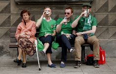 Irish Fans having a beer with the locals in Gdansk.