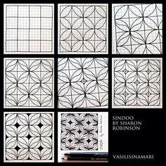 Zentangle pattern drawn by Vasilisinamari sindoo tangle pattern Zentangle Drawings, Doodles Zentangles, Doodle Drawings, Tangle Doodle, Zen Doodle, Doodle Art, Zantangle Art, Zen Art, Doodle Patterns