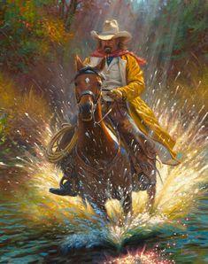 Slippey When Wet by Mark Keathley ~ cowboy on galloping horse through stream