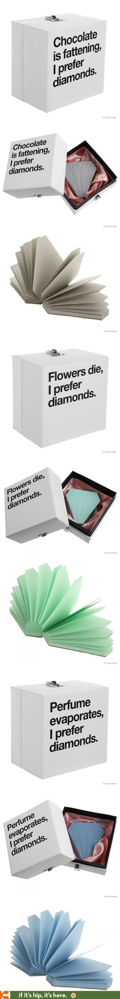 In the case of these Diamond shaped notepads by Papelaria, the packaging is what makes the product so much fun.