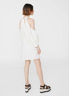 Ramie-blend off-shouldern dress