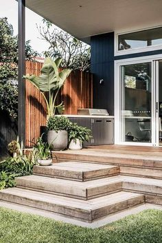 This landscape design on Sydney's Northern Beaches was designed to suit our clients' love of entertaining and hands-on gardening. Outdoor Areas, Outdoor Rooms, Outdoor Living, Deck Design, Landscape Design, Steps Design, Interior Exterior, Exterior Design, Diy Garden Decor