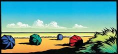 umbrellas lino cut by Chris Wormell (The Adnams series)