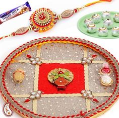 Picture of Traditionally Decorated Kalash Thali with Kundans