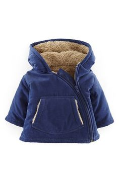 """Free shipping and returns on Mini Boden Corduroy Jacket (Baby Boys) at Nordstrom.com. <p><B STYLE=""""COLOR:#990000"""">Pre-order this style today! Add to Shopping Bag to view approximate ship date. You'll be charged only when your item ships.</b></p><br>An asymmetrical front zipper puts a modern touch on a cozy corduroy jacket featuring a front kangaroo pocket and soft, fuzzy fleece lining."""