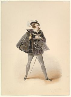 """Johann Georg Christoph Fries (German, 1788–1857). Costume Study for Belmonte in the """"Abduction from the Seraglio"""" by W.A. Mozart, mid-19th century. The Metropolitan Museum of Art, New York. Purchase, Brooke Russell Astor Bequest, 2013 (2013.219.3) #halloween #costume"""