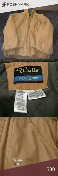 Men's Walls Zero-Zone Work Coat Walls work coat,heavily insulated from intense heat and cold, great for working and snow and wearing over layers, has inside pockets, hooded with drawstrings and zips up, in great condition, gently used Walls Jackets & Coats