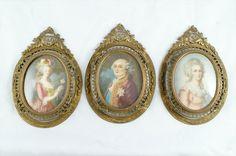 Miniature portraits on ivory, Marie Antoinette, Louis XVI and Madame Elizabeth.