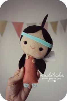 DOLL  felt doll art doll Indian girl teepee tribal by mukibaba