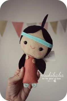 Indian Felt Doll - limited edition  Hello and Welcome to Mukibaba!  Let me introduce you to little L! She is cute as a button and sweet as apply pie. Made and designed by me in a lovely, pet and smoke free studio.  △△△ S H I P P I N G △△△ Ready to Ship. Shipping time might take up to 2-4 weeks overseas, depending your the destination. △△△ S I Z E △△△ 8 inches tall or 20 cm tall  .△.△.△.△.△.△.△.△.△.△.△.△.△.△.△.△.△. Back to shop: https://www.etsy.com/shop/mukibaba?ref=hdr_shop_menu