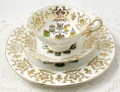 Paragon Tea Cup and Saucer Trio with Canada Coat of Arms, Canadian Tea Cup, Vintage Bone China, Teacup and Saucer