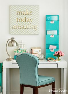 While it is obviously beneficial to keep your home office organized and as clutter-free as possible, there are many other things you could consider when decorating your space to make it an optimal work environment. When revamping your home office, here are some thought-starters: 1. Splashes of Color. 2. Layer Pattern 3. Add Inspiring Artwork. 4. Make it a family affair.  Make home yours by visiting your local HomeGoods store.