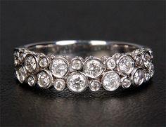 Unique 1.07CT Bezel Diamonds 14K White Gold Wedding Band Engagement Anniversary Ring via Etsy