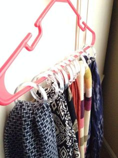 Store your beautiful set of scarves with clip-on rings on a hanger to keep them well organized and ready to be grabbed on the go.  Photo:  Peeking Pines