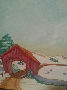Red covered bridge.Water color