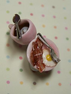 Miniature Food Jewelry Breakfast Earrings in Pink by kawaiibuddies, $25.00