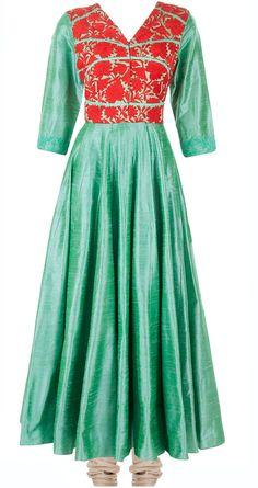 Green embroidered kalidaar kurta set by MANISH MALHOTRA. Shop at http://www.perniaspopupshop.com/designers-1/manish-malhotra