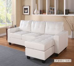 The plush pieces of the Acme Furniture Lyssa Sectional Sofa with Ottoman can be set up in various configurations to suit your preferences and your living. White Sectional Sofa, Ottoman Sofa, Leather Sectional Sofas, Fabric Ottoman, White Sofas, Chaise Sofa, Leather Sofa, Sleeper Sectional, Chaise Lounges