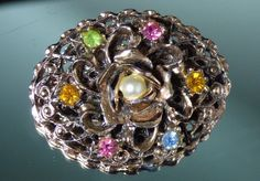 Vintage Faux Pearl & Gemstone Crystals Oval Brooch Pin Flower Center Gold Tone  #Unknown