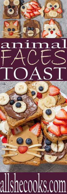 Making food fun for kids is easy with these animal faces toast ideas. #foodrecipesforkids