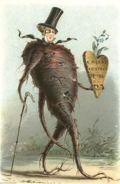 Can greetings card get any more nightmarish than a walking root vegetable with a human face and a monocle bearing an inscribed carrot?