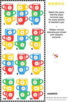 Visual Puzzle - Match The Mirrored Images Of Stacked Cups Stock Vector - Illustration of children, answer: 52826138