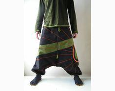 Winter Harem Pants - Aladdin Trousers - Afghani Pants - Alibaba Pants - Men - Women - Twill Cotton - S / XS - M - L. $53.00, via Etsy.