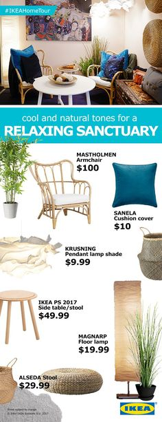 For a relaxing sanctuary look and feel in your home, look for furniture and décor made from raw or natural materials and light, neutral tones. Ikea Furniture Hacks, Ikea Hacks, Ikea Home Tour Series, Living Room Decor, Living Spaces, Dining Room, Bohemian Apartment, Ikea Ps, Interior Decorating
