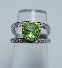 Vintage Peridot .80ct Diamond Ring 14K White Gold Estate Jewelry