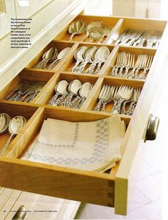 perfect drawer-  storage for silver  #kitchen #organizing #organization #pantry #pots #spices