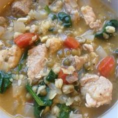 Mongo Guisado (Mung Bean Soup) one of my childhood comfort food!  Sarap (yummy)!