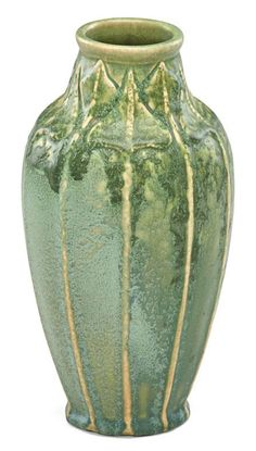 "VAN BRIGGLE Tall early vase with leaves, curdled green glaze, Colorado Springs, CO, ca. 1905, obscured AA VAN BRIGGLE mark, 9 3/4"" x 5"""