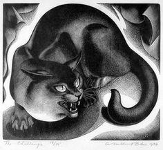 """Agnes Miller Parker (1895–1980):  """" The Challenge"""". Wood engraving,  1934."""