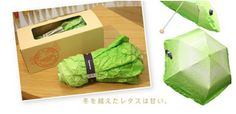 The Vegetabrella adds color to Japan's gloomy rainy season, all the while doing what it is made for: protecting people from the rain.    When rolled up, especially after use, others might really believe you're carrying around a head of lettuce.