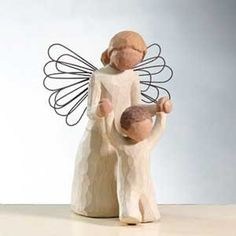 "$12.23-$17.00 Willow Tree Guardian Angel Figurine by Susan Lordi. 5"" high. Resin and metal. Gift boxed. Angel helping a toddler take steps. ""May you always have an Angel to watch over you""  Since 2000, Susan Lordi has been creating these figurative sculptures that speak in quiet ways of deep emotion and inspiration.  Artist Susan Lordi carves each original sculpture, then pieces are cast from her ..."
