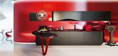 In-Your-Face Italian Modern Kitchen - Full Wall Colored Metal Backsplash Luxury Kitchen Design, Kitchen Designs, Little Houses, Beautiful Kitchens, Kitchen Lighting, Liquor Cabinet, Kitchen Cabinets, House Design, Home Decor