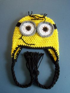 Crochet Minion Hat, Crochet Despicable Me Hat, Toddler, Baby Boy - Made To Order Minions, Minion Hats, Minion Beanie, Crochet For Kids, Crochet Baby, Knit Crochet, Crocheted Hats, Crochet Things, Baby Boy Hats